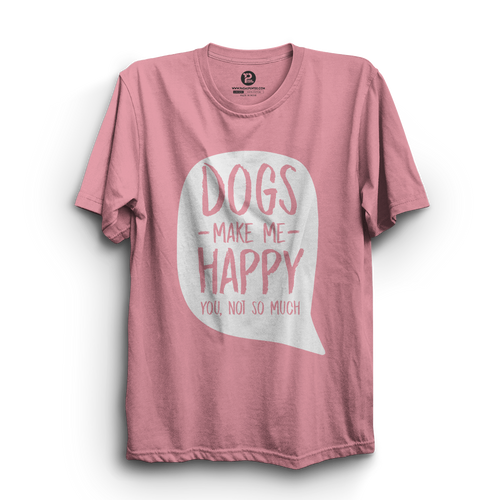 HS- DOGS MAKE ME HAPPY (PINK-WHITE)