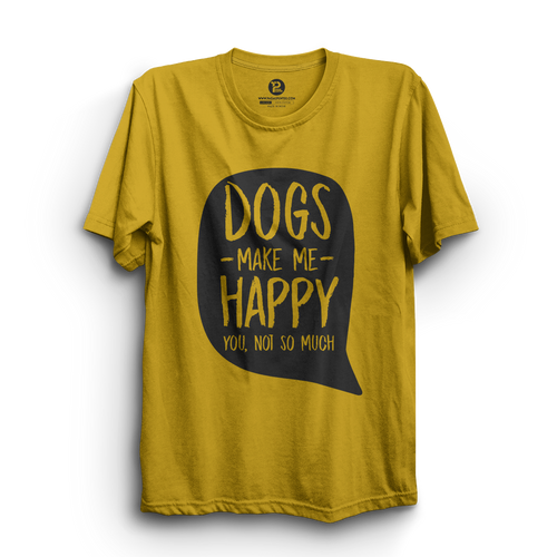 HS- DOGS MAKE ME HAPPY (YELLOW-BLACK)
