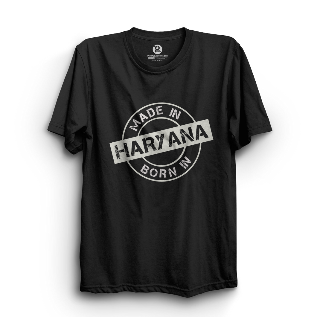 HS- BORN/MADE IN HARYANA (BLACK-WHITE)