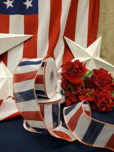 Patriotic Red/White/Blue Wire Ribbon