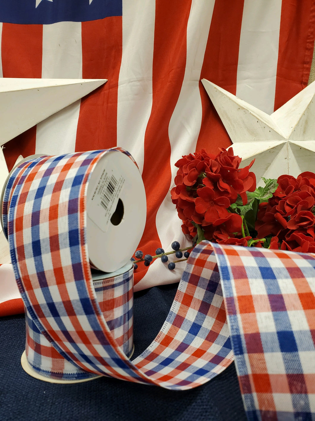 Patriotic Red/Blue Gingham Wire Ribbon
