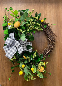 Grapevine and Lemon spring Wreath
