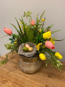 Tulip and Birds Nest Arrangement