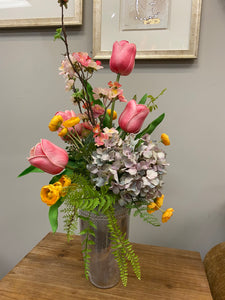 Tulip and cherry blossom arrangement