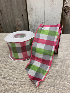 Pink/Lime/Gray/White Plaid Ribbon