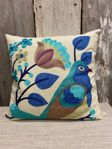 Turquoise/Navy Bird Pillow
