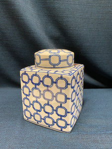Square Lidded Blue and White Jar