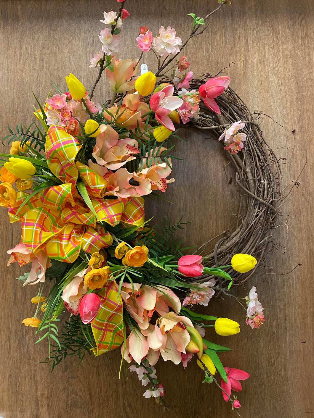 Cherry Blossoms Tulips and Fern Wreath