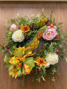 Wisteria Poppy Wreath