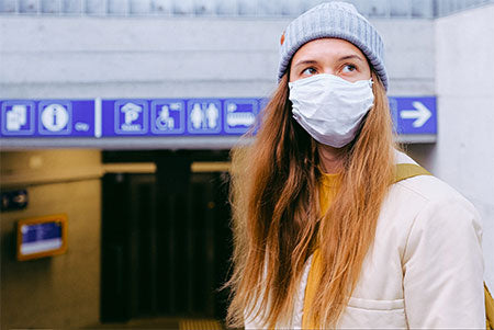Woman wearing a surgical mask. Protection against Coronavirus.