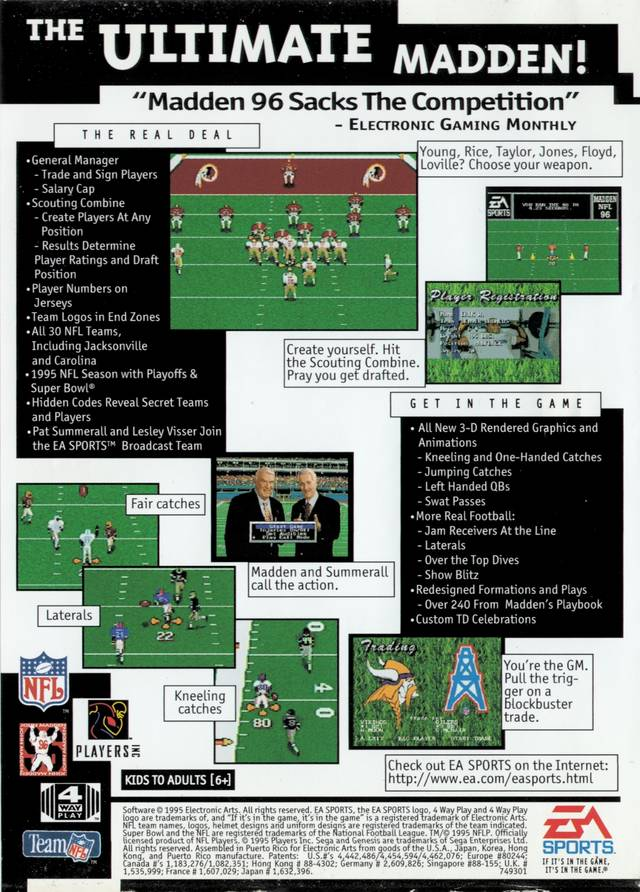 Madden NFL 96 - Genesis | Retro1UP Game