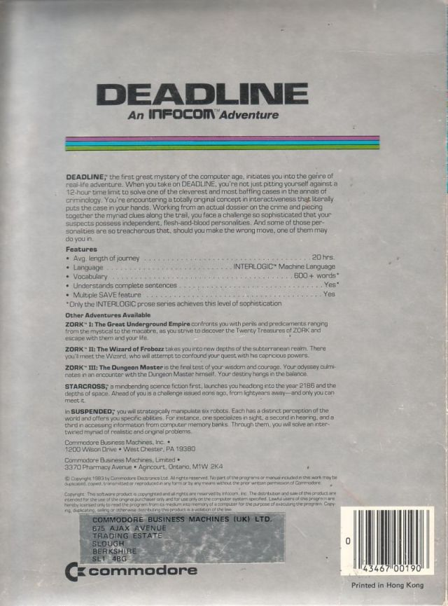 Deadline - Commodore 64 | Retro1UP Game