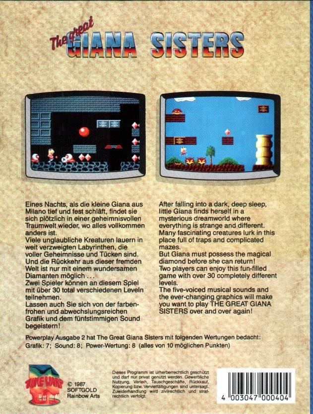 The Great Giana Sisters - Commodore 64 | Retro1UP Game