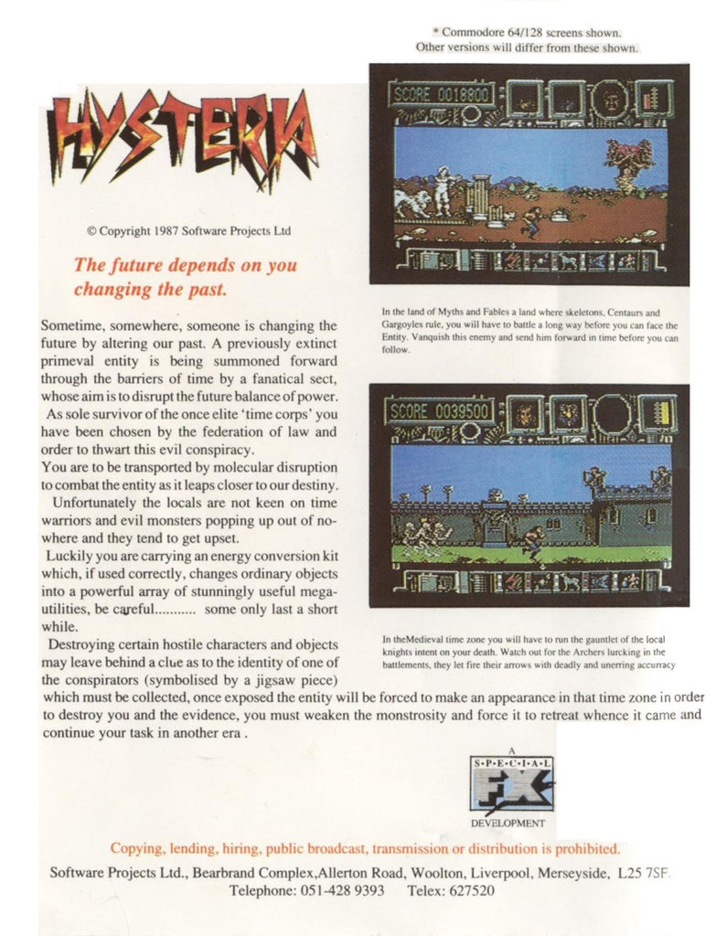 Hysteria - Commodore 64 | Retro1UP Game