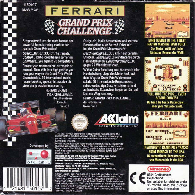 Ferrari Grand Prix Challenge - Game Boy | Retro1UP Game
