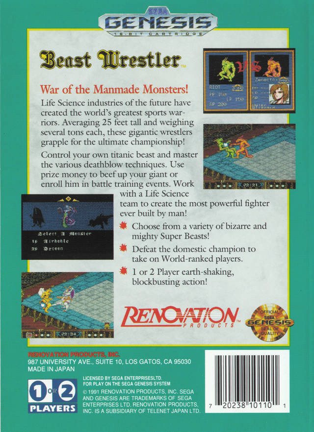 Beast Wrestler - Genesis | Retro1UP Game
