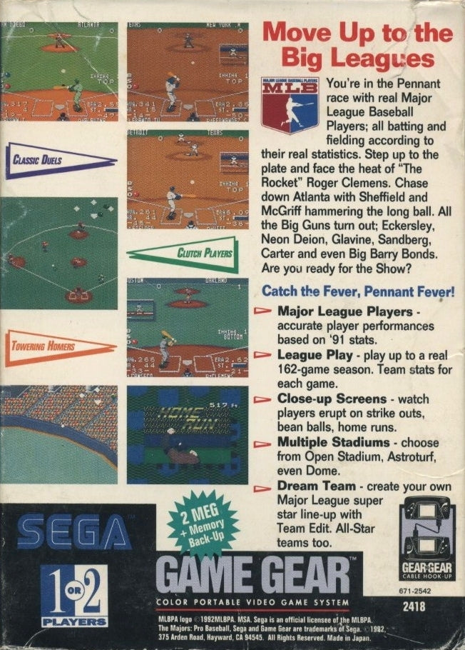 The Majors: Pro Baseball - GameGear | Retro1UP Game