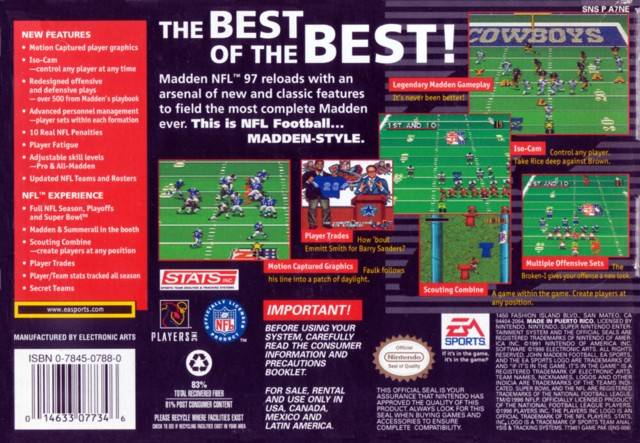 Madden NFL 97 - Super Nintendo | Retro1UP Game