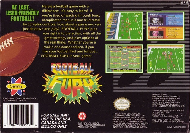 Football Fury - Super Nintendo | Retro1UP Game