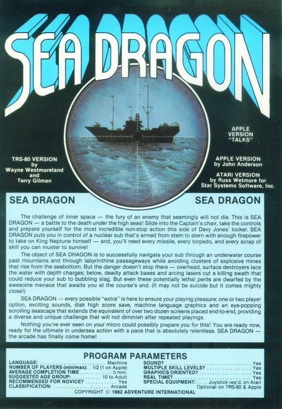 Sea Dragon - Atari 8-bit | Retro1UP Game