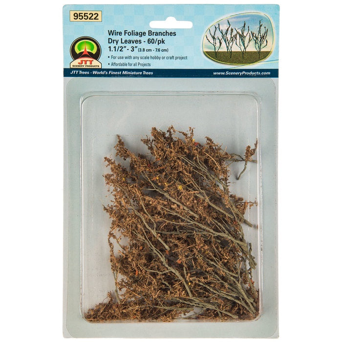 JTT 'All Scale' Wire Foliage Branches Dry Leaves 60pk 1.1/2''-3'' (95522)