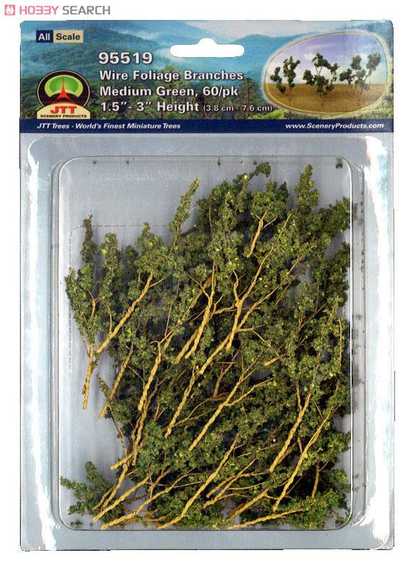 JTT Wire Foliage Branches Medium Green 60pk 1-1/2'' - 3'' (95519)