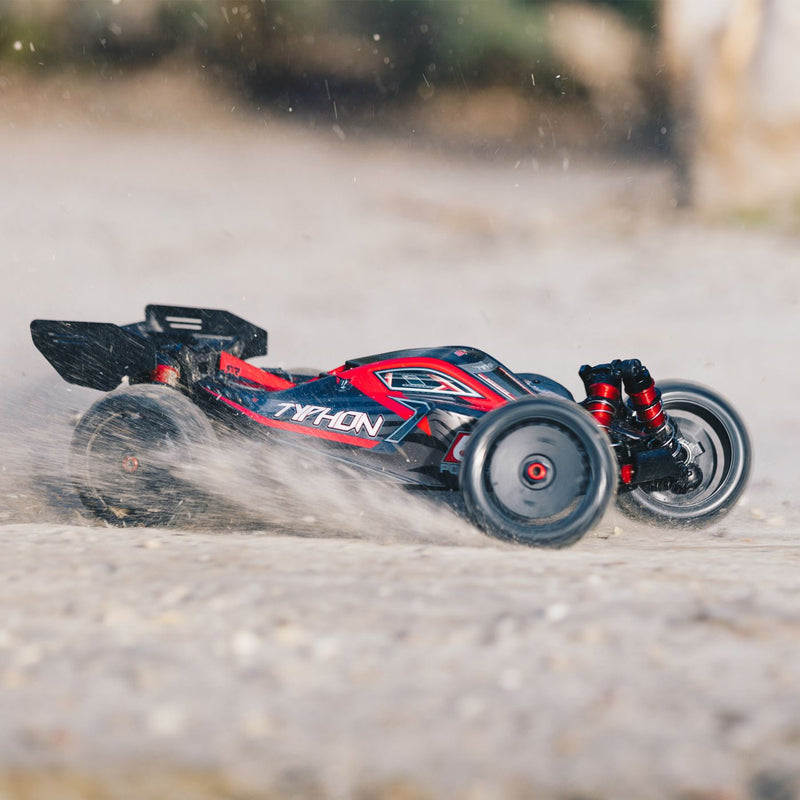 ARRMA 1/8 TYPHON 6S BLX 4WD Brushless Buggy with Spektrum RTR, Red/Grey (ARA106046)