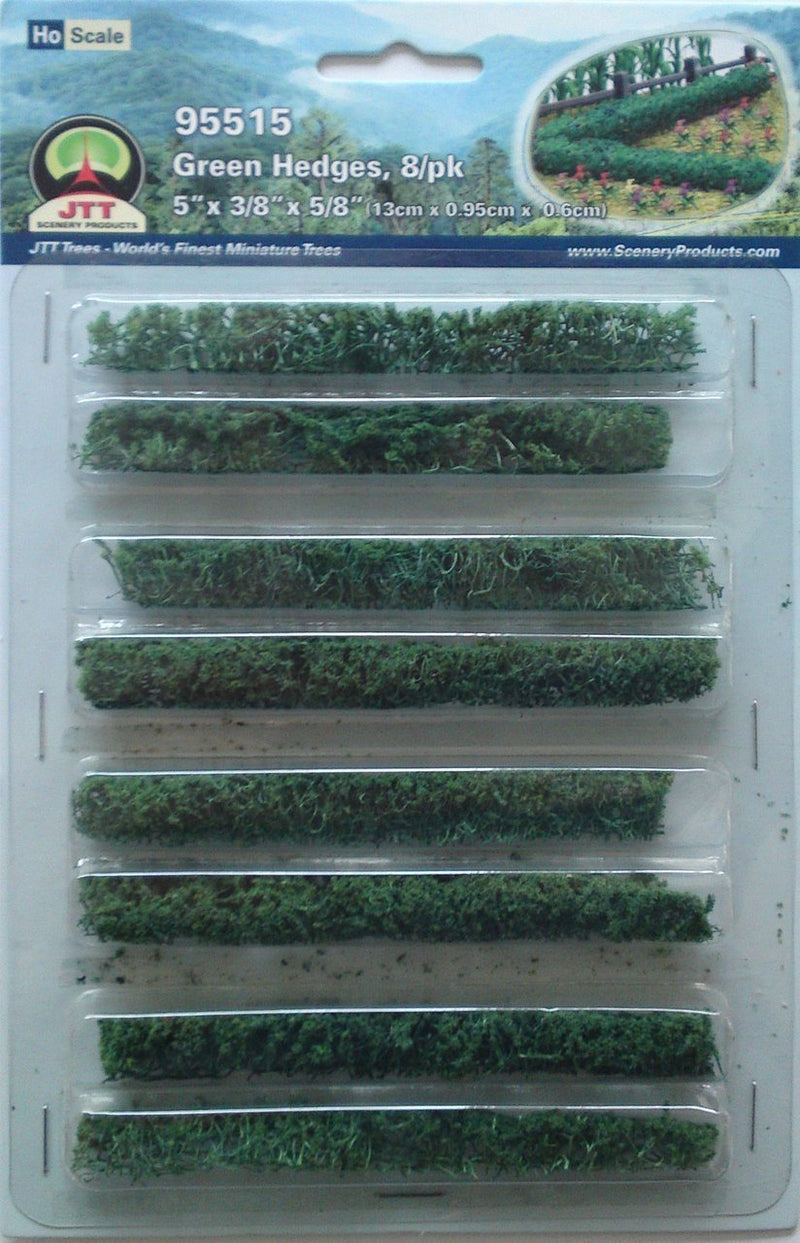 JTT 'HO' Green Hedges 8pk 5''x3/8''x5/8'' (95515)