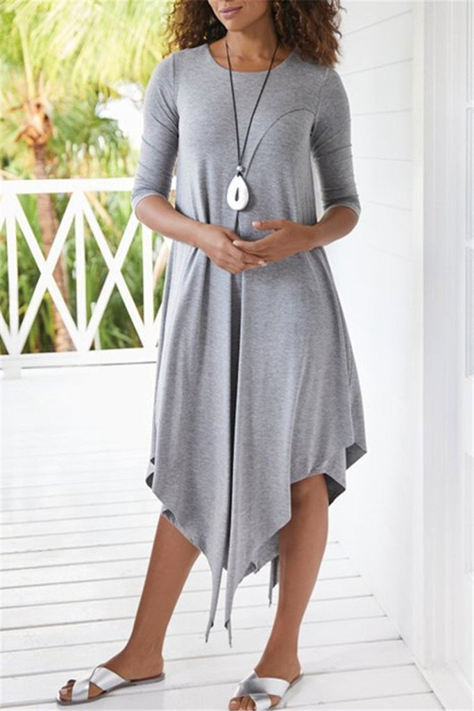 Asymmetric Hem Solid Color Casual Midi Dress