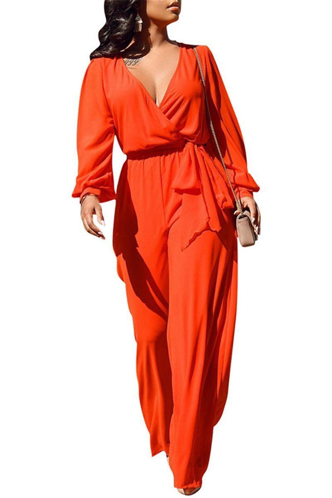 V Neck Long Sleeve Solid Color Belted Jumpsuit