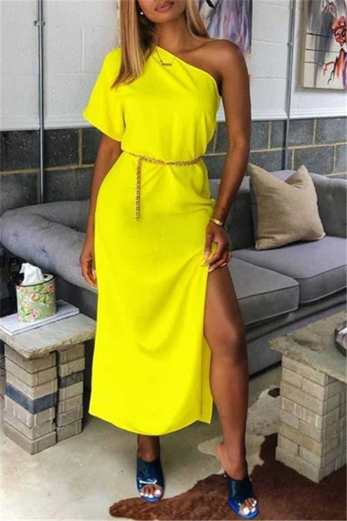 One Shoulder Side Slit Casual Maxi Dress