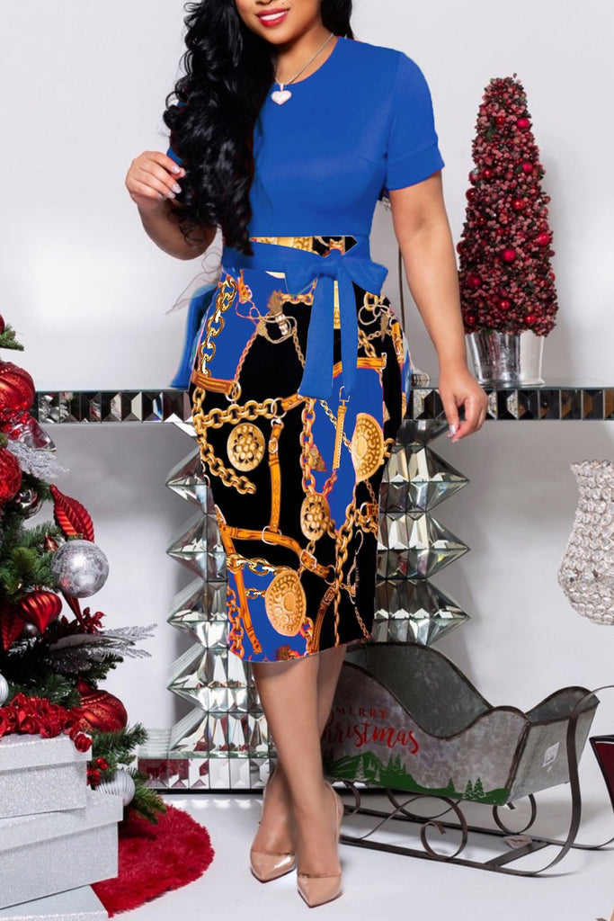 Chain Print Short Sleeve Midi Dress