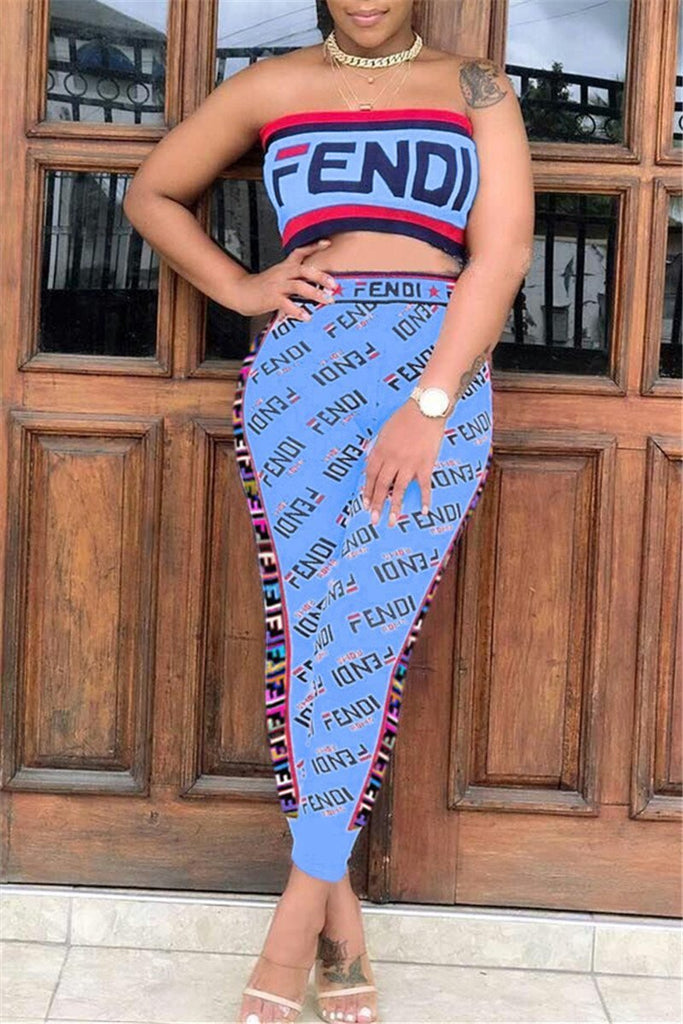 Letter Print High Waist Strapless Two Piece Sets