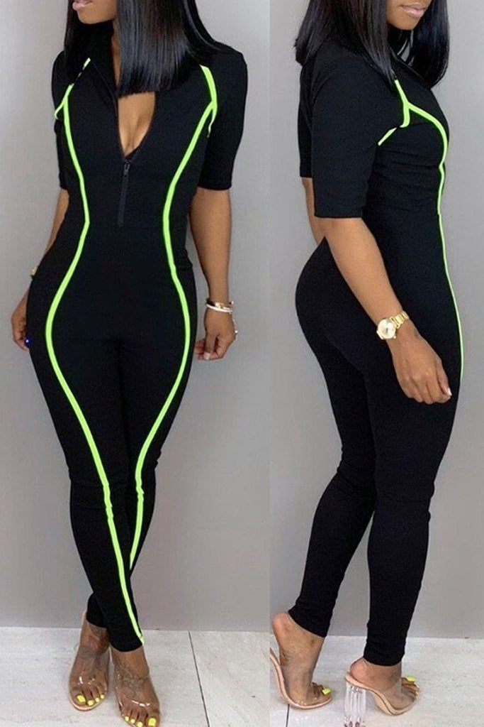 Short Sleeve Zipper Collar Solid Color Jumpsuit