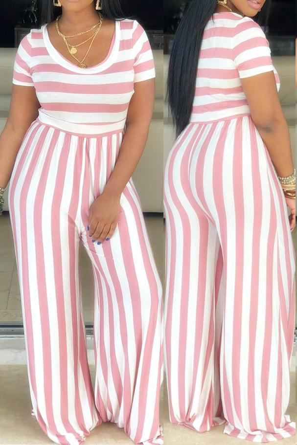 Stripe Print Plus Size Short Sleeve Jumpsuit