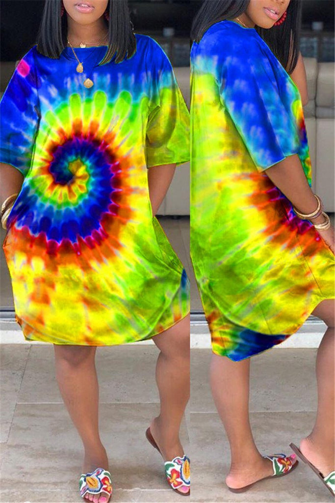 Plus Size Tie Dye Pocket Casual Dress