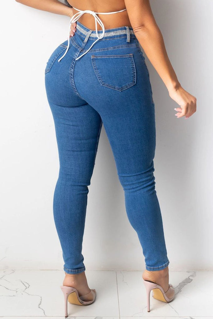 Hot Drilling Distressed High-elastic Jeans