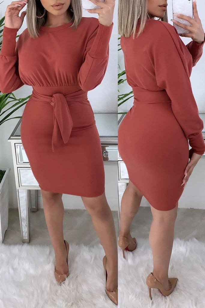 Solid Color Tie Up Long Sleeve Mini Dress