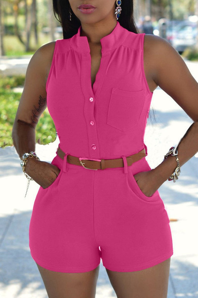 Solid Color Sleeveless Pocket Romper With Belt