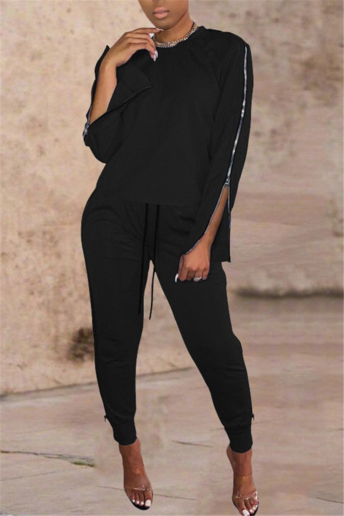 Side Zipper Long Sleeve Drawstring Two Piece Sets