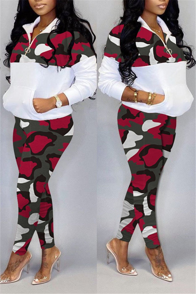 Plus Size Camouflage Patchwork Pocket Two Piece Sets