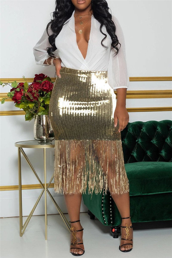 High Waist Tassels Hem Sequined Skirt