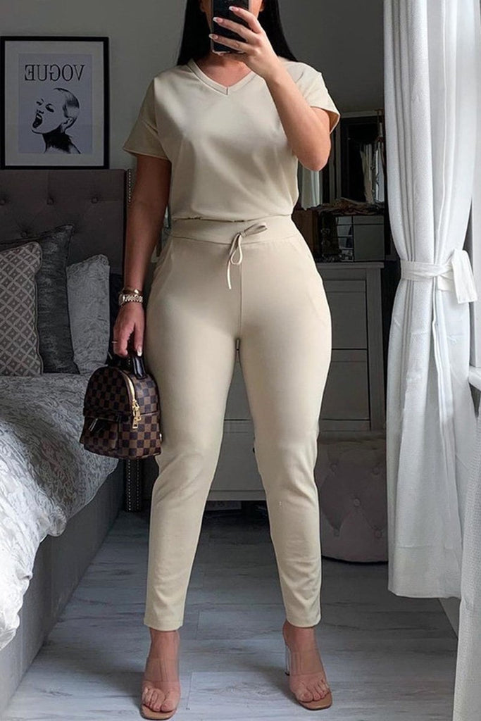Drawstring Waist V-neck Solid Top & Pants