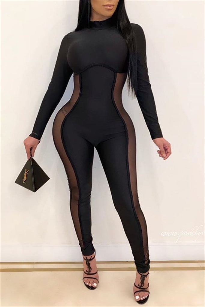 Mesh Panel Long Sleeve Sexy Jumpsuit