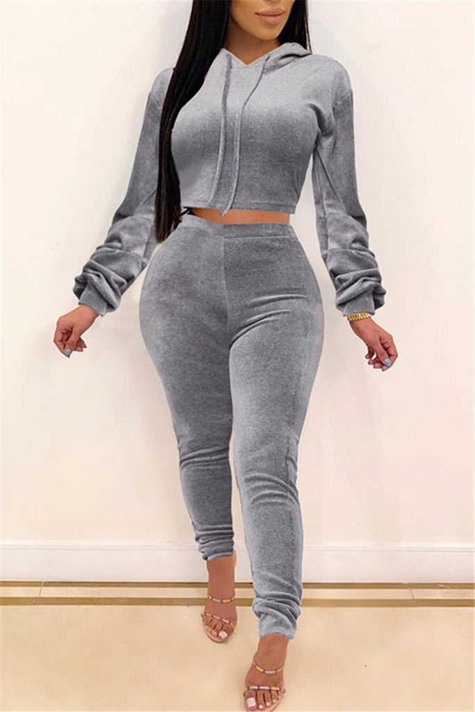 Solid Color Long Sleeve Hooded Two Piece Sets