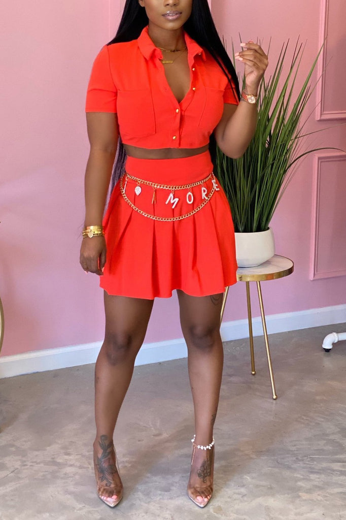 Solid Color Short Sleeve Pleated Two Piece Dress