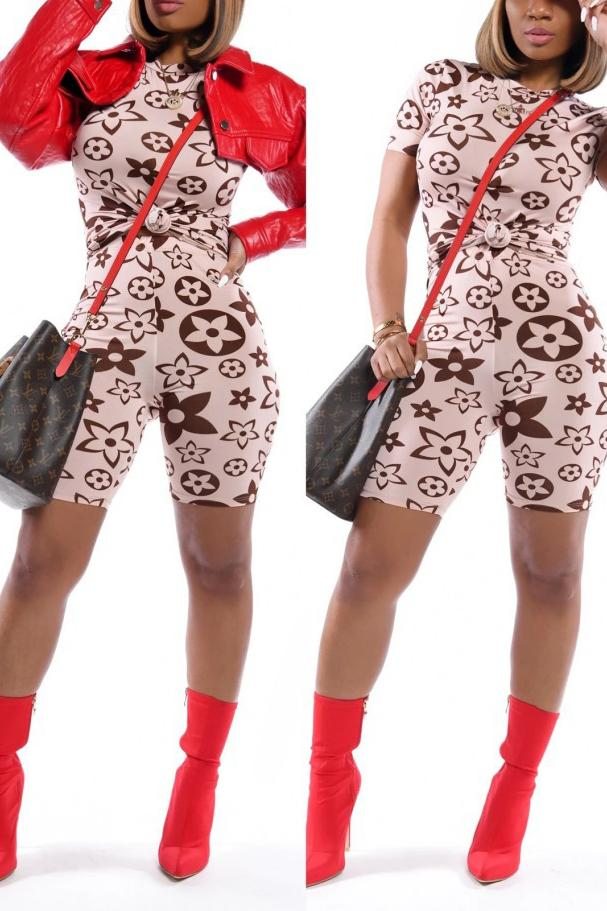 Plus Size Short Sleeve Printed Two Piece Sets