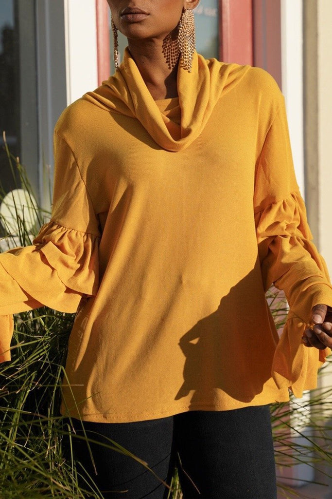 Turtleneck Ruffle Sleeve Solid Color Top
