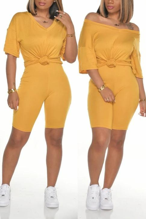 Solid Color V Neck Casual Two Piece Sets