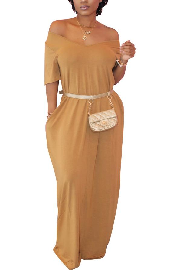Solid Color Short Sleeve Casual Maxi Dress